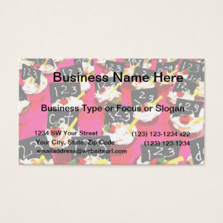 Teacher cupcake repeat on pink background business card