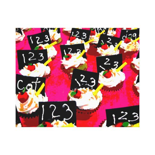 Teacher cupcake repeat on pink background canvas prints