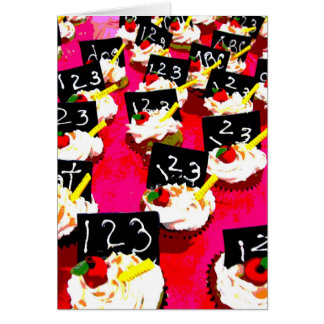 Teacher cupcake repeat on pink background greeting card
