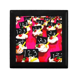 Teacher cupcake repeat on pink background keepsake boxes