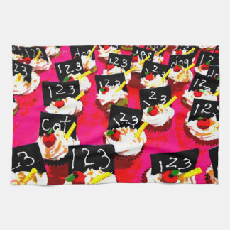 Teacher cupcake repeat on pink background kitchen towel