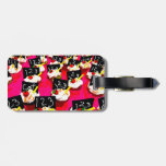 Teacher cupcake repeat on pink background tag for luggage