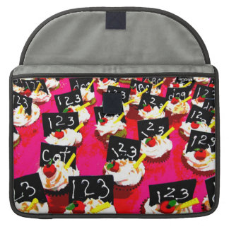 Teacher cupcake repeat on pink background MacBook pro sleeve