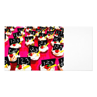 Teacher cupcake repeat on pink background photo card