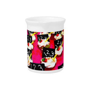 Teacher cupcake repeat on pink background pitcher