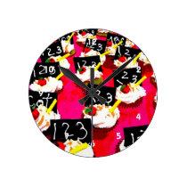 Teacher cupcake repeat on pink background round clock