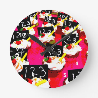 Teacher cupcake repeat on pink background round clock