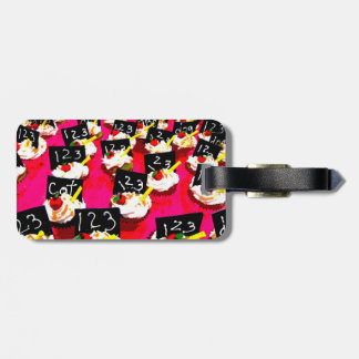 Teacher cupcake repeat on pink background tags for luggage