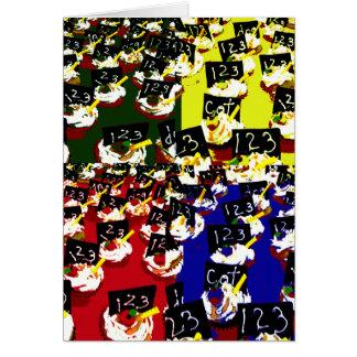 Teacher cupcake repeat pop art colours greeting card