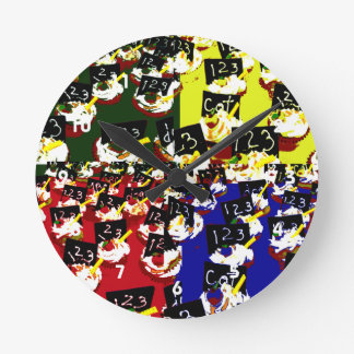 Teacher cupcake repeat pop art colours round wallclocks