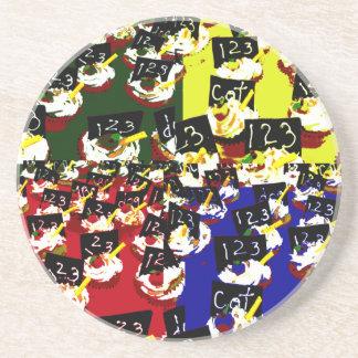 Teacher cupcake repeat pop art colours coaster