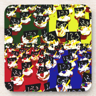 Teacher cupcake repeat pop art colours drink coasters