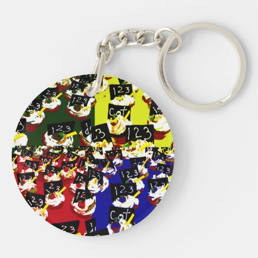 Teacher cupcake repeat pop art colours Double-Sided round acrylic keychain