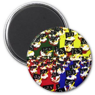 Teacher cupcake repeat pop art colours 2 inch round magnet