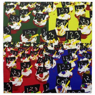 Teacher cupcake repeat pop art colours printed napkin