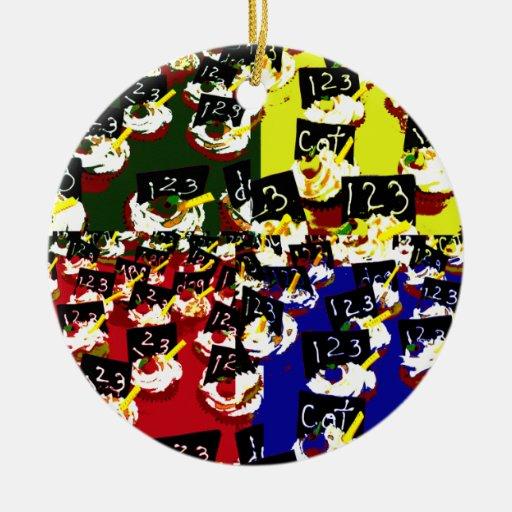 Teacher cupcake repeat pop art colours Double-Sided ceramic round christmas ornament