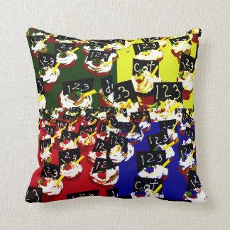 Teacher cupcake repeat pop art colours throw pillows