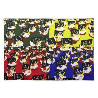 Teacher cupcake repeat pop art colours place mats