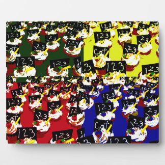 Teacher cupcake repeat pop art colours plaque