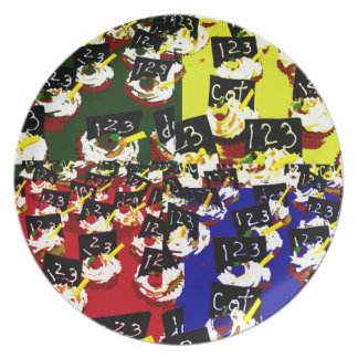 Teacher cupcake repeat pop art colours plate