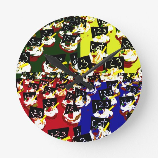 Teacher cupcake repeat pop art colours round clock