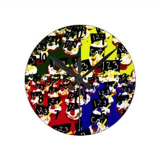 Teacher cupcake repeat pop art colours round clock