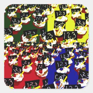 Teacher cupcake repeat pop art colours square sticker