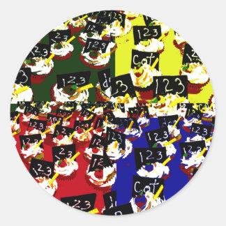 Teacher cupcake repeat pop art colours classic round sticker