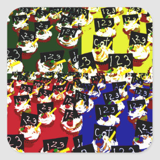 Teacher cupcake repeat pop art colours stickers