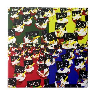 Teacher cupcake repeat pop art colours ceramic tile