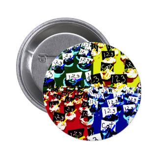 Teacher cupcake repeat pop art two invert pinback buttons