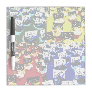 Teacher cupcake repeat pop art two invert dry erase boards