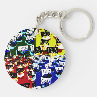 Teacher cupcake repeat pop art two invert round acrylic keychains