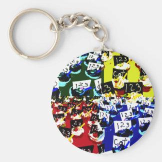 Teacher cupcake repeat pop art two invert keychain