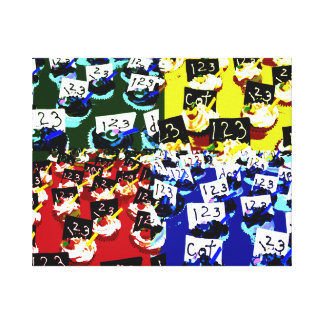 Teacher cupcake repeat pop art two invert stretched canvas prints
