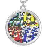 Teacher cupcake repeat pop art two invert personalized necklace