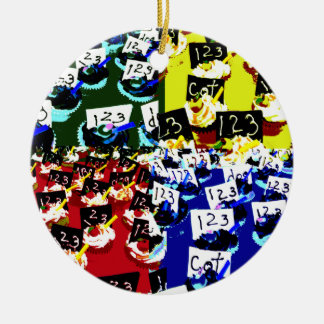 Teacher cupcake repeat pop art two invert Double-Sided ceramic round christmas ornament