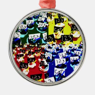 Teacher cupcake repeat pop art two invert round metal christmas ornament
