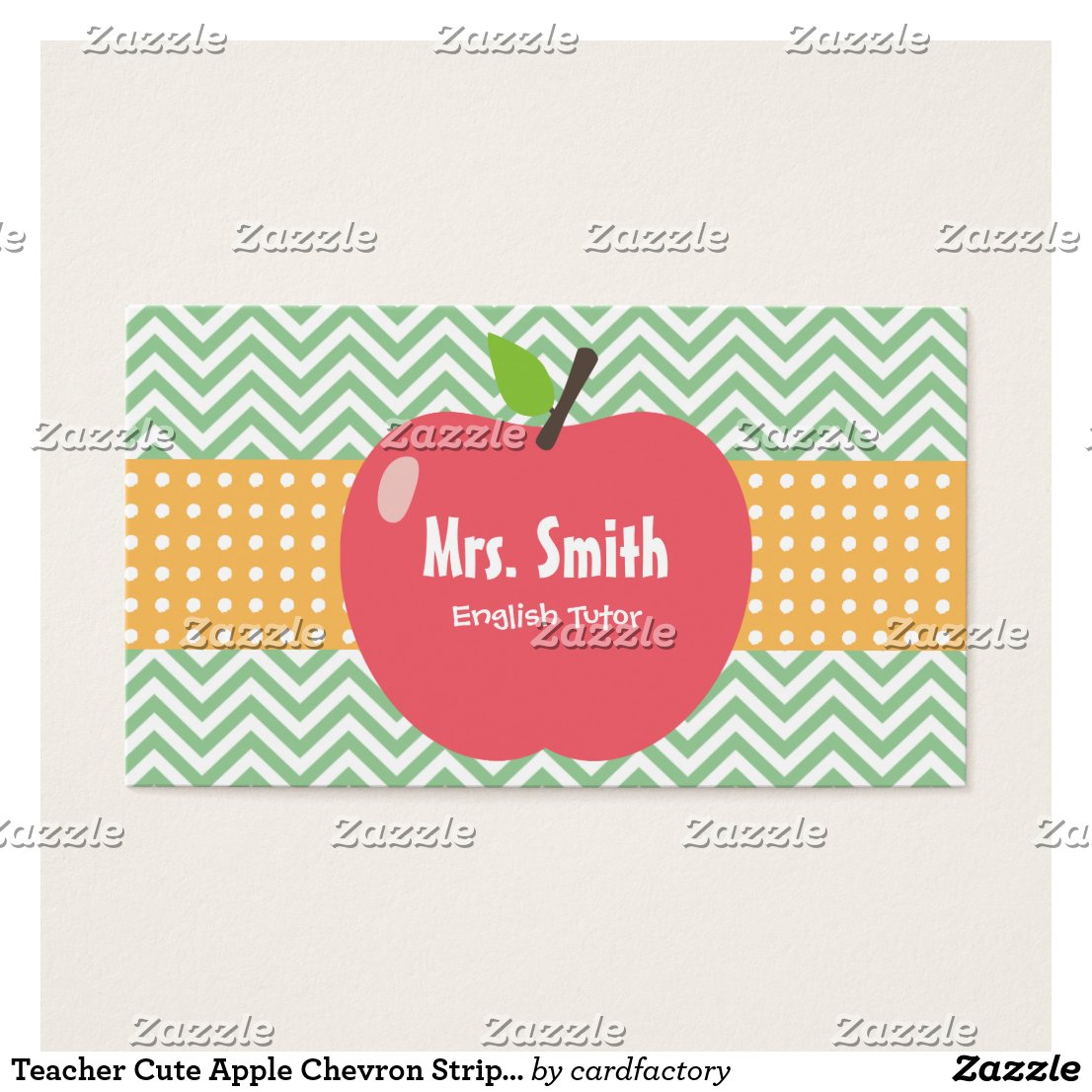 Teacher Cute Apple Chevron Stripes Business Card