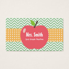 Teacher Cute Apple Chevron Stripes Business Card at Zazzle