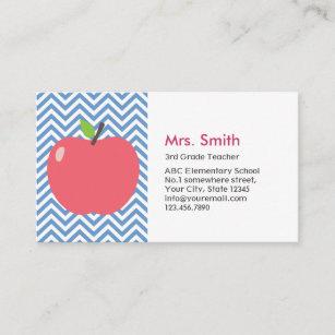 Teacher Cute Le Modern Blue Chevron Stripes Business Card