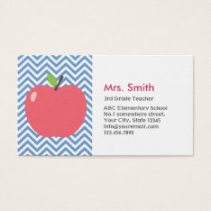 Teacher Cute Apple Modern Blue Chevron Stripes Business Card at Zazzle