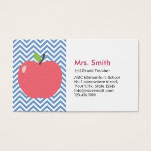Apple business cards templates zazzle teacher cute apple modern blue chevron stripes business card wajeb Images
