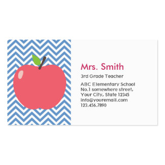 Teacher Cute Apple Modern Blue Chevron Stripes Double-Sided Standard Business Cards (Pack Of 100)