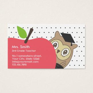 Teacher Cute Apple & Owl Simple Dots Classy Business Card