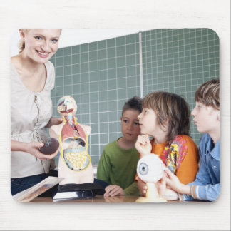 teacher demonstrating model of human body to mouse pad