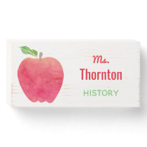 Teacher Desk Classroom Apple Personalized Name Wooden Box Sign