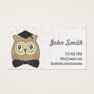 Teacher Doctor Owl Cute Polka Dots Business Card