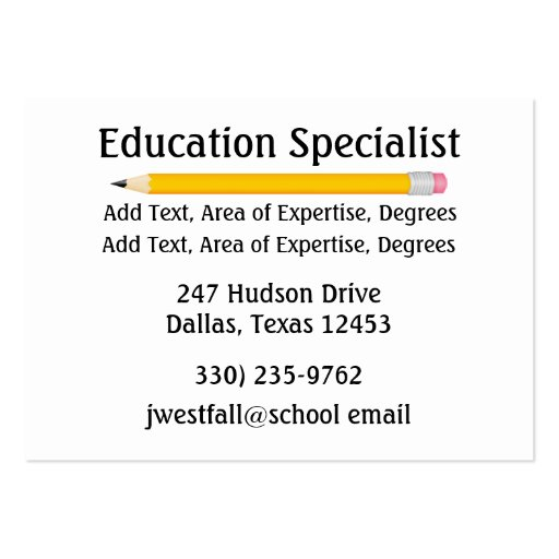 Teacher / Education Business Card by SRF (back side)