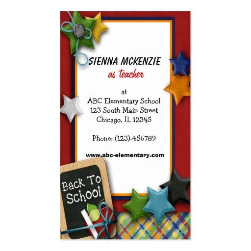 Teacher Elementary School Business Card